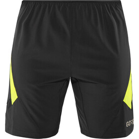 GORE WEAR R5 2-in-1 Shorts Heren, black/neon yellow